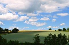 遮蔽草甸的白色云彩 库存照片