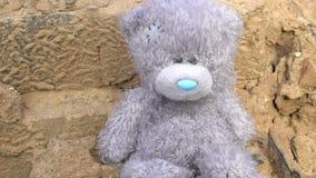 遮蔽spreding在abandonded长毛绒玩具灰色玩具熊寂寞概念,童年,乡情,灾害记忆  股票录像