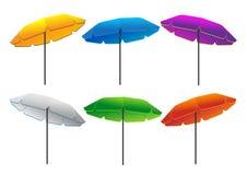 遮阳伞几不同的颜色 库存图片