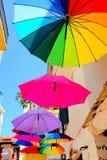 遮阳伞,斯基亚索斯岛,希腊 图库摄影