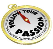 遵循您的激情词指南针方向教导建议 图库摄影