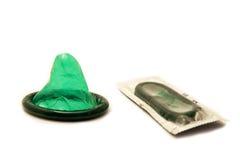 避孕套查出的白色 库存照片