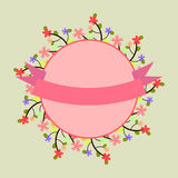 邀请、商标、明信片与花卉框架和pi的模板 免版税库存图片