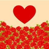 邀请、贺卡模板与玫瑰和红色心脏 向量 库存照片