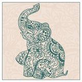 邀请与大象的葡萄酒卡片 免版税库存图片