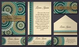 邀请卡片汇集 种族装饰元素 回教,阿拉伯语,印地安人,无背长椅主题 库存图片