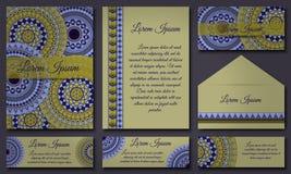 邀请卡片汇集 种族装饰元素 回教,阿拉伯语,印地安人,无背长椅主题 免版税库存图片