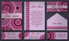 邀请卡片汇集 种族装饰元素 回教,阿拉伯语,印地安人,无背长椅主题 图库摄影
