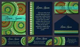 邀请卡片汇集 种族装饰元素 回教,阿拉伯语,印地安人,无背长椅主题 免版税图库摄影