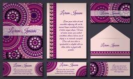 邀请卡片汇集 种族装饰元素 回教,阿拉伯语,印地安人,无背长椅主题 库存照片