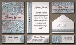 邀请卡片汇集 种族装饰元素 回教,阿拉伯语,印地安人,无背长椅主题 免版税库存照片