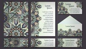 邀请卡片汇集 装饰要素葡萄酒 回教,阿拉伯语,印地安人,无背长椅主题 库存图片