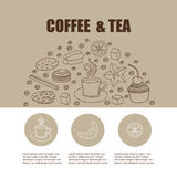 邀请卡片的,站点页,菜单,与cofee的海报概念 库存照片