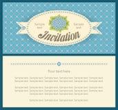 邀请卡片的经典天蓝色八仙花属风景设计 免版税库存图片