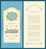 邀请卡片的经典天蓝色八仙花属画象设计 免版税库存图片