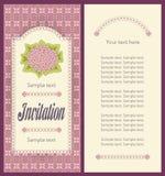 邀请卡片的经典桃红色八仙花属画象设计 免版税库存照片