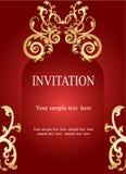 邀请卡片,与金黄装饰物的喜帖在红色后面 免版税库存图片