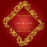邀请卡片,在红色背景的喜帖装饰品 免版税库存图片