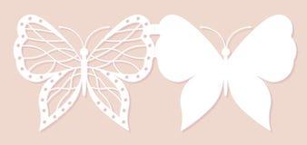 邀请卡片,婚姻的装饰,设计元素 典雅的蝴蝶激光裁减 也corel凹道例证向量 皇族释放例证