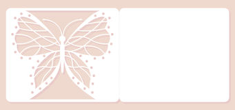 邀请卡片,婚姻的装饰,设计元素 典雅的蝴蝶激光裁减 也corel凹道例证向量 免版税库存图片