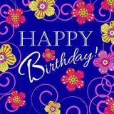 邀请和祝贺的卡片 生日 用花装饰 免版税库存照片