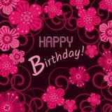 邀请和祝贺的卡片 生日 用花装饰 库存图片