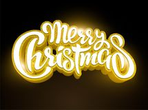 邀请和贺卡、印刷品和海报的金黄文本圣诞快乐字法 手拉的题字 免版税库存图片