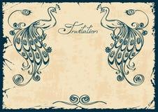 邀请或卡片与蓝色孔雀 免版税库存图片