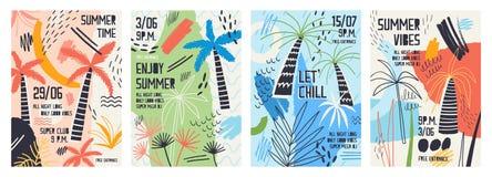 邀请或海报模板的汇集用热带棕榈树装饰的,油漆弄脏,污点和杂文为 皇族释放例证