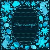邀请或问候的设计卡片 兔子,猫头鹰,叶子 花 乱画样式 图库摄影
