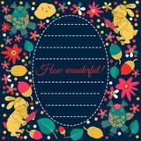 邀请或问候的设计卡片 兔子,猫头鹰,叶子 花 乱画样式 库存照片