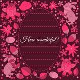 邀请或问候的设计卡片 兔子,猫头鹰,叶子 花 乱画样式 免版税图库摄影