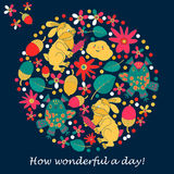 邀请或问候的设计卡片 兔子,猫头鹰,叶子 花 乱画样式 库存图片
