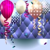 邀请的五颜六色的卡片,与气球的生日贺卡 免版税库存照片