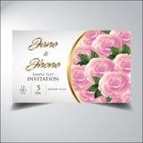 邀请看起来典雅的花桃红色金子 免版税图库摄影