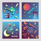 邀请祝贺卡集孟菲斯样式 空间题材摘要海报横幅与几何元素的飞行物模板 免版税库存图片