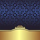 邀请设计:与金黄边界的蓝色装饰背景 免版税库存图片