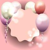 邀请,与气球的生日贺卡的桃红色框架 免版税库存照片