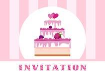 邀请,莓蛋糕,桃红色,镶边,传染媒介 图库摄影
