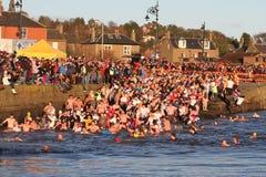 邓迪,英国- 1月1日: 参与在Broughty轮渡的新年Dook的游泳者怀有在2013年1月1日的邓迪。 每 免版税库存照片