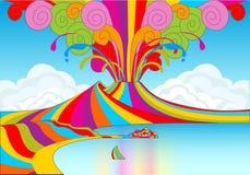 那不勒斯和Vesuvio在彩虹爆发 库存照片