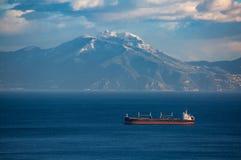 那不勒斯海湾冬天全景与Faito登上的 库存照片