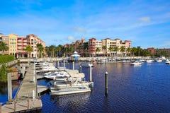 那不勒斯海湾小游艇船坞在佛罗里达美国 库存照片