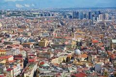 那不勒斯,南意大利空中风景看法  免版税库存图片