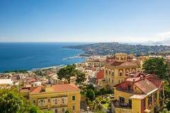 那不勒斯,意大利海岸的看法  免版税库存照片