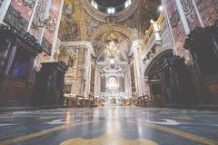 那不勒斯,意大利, 12月02,2017 :在Gesu N上的美好的天花板 图库摄影