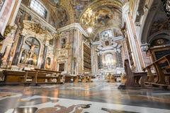那不勒斯,意大利, 12月02,2017 :在Gesu N上的美好的天花板 免版税库存图片
