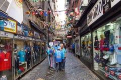那不勒斯,意大利- 2017年8月10日:西班牙人处所Quartieri Spagnoli是市的部分那不勒斯在意大利 它是a 图库摄影