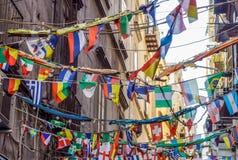那不勒斯,意大利- 2017年8月10日:西班牙人处所Quartieri Spagnoli是市的部分那不勒斯在意大利 它是a 免版税图库摄影