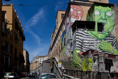 那不勒斯, murales司法精神病院 图库摄影